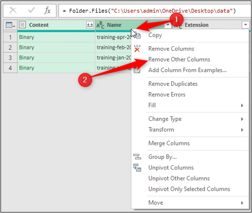 Remove other columns in Power Query