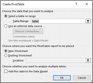 Create a Pivot Table from the sales table on a new worksheet