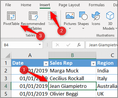 Insert a PivotTable in Excel