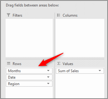 Drag the date field into the rows area
