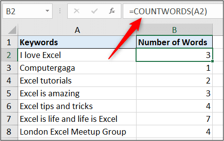 The COUNTWORDS function working perfectly
