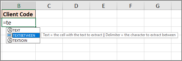 Parameter definitions shown when entering the function
