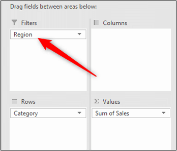 Region field added as the Pivot Table filter