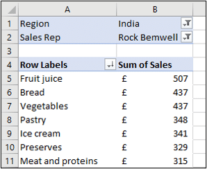 Two fields added to the Filter area of an Excel Pivot Table