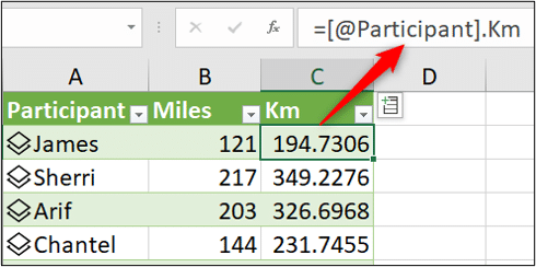 Formula used to fetch data from the data type