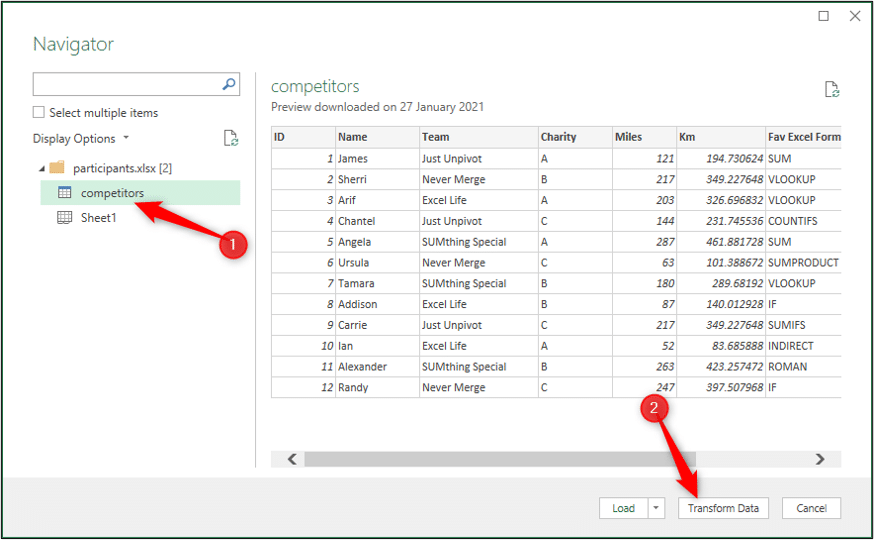 Select the competitors table from the Navigator window