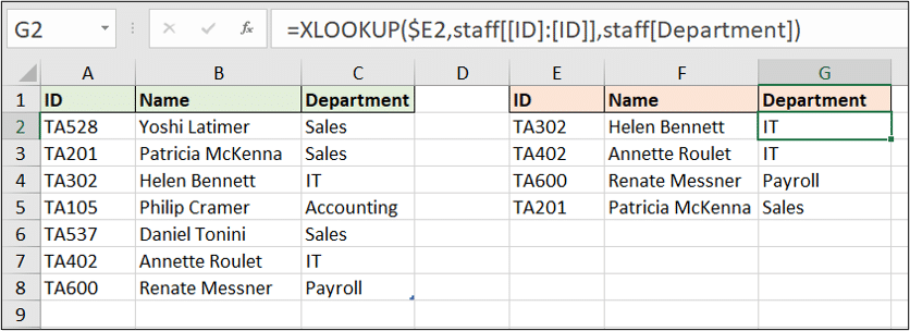 Make a table column absolute in an XLOOKUP function