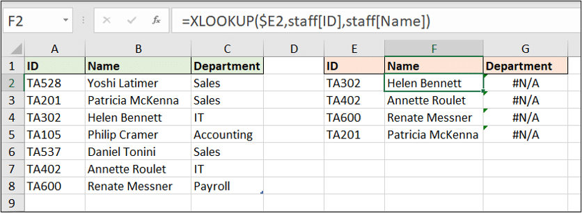 XLOOKUP function does not work when copied