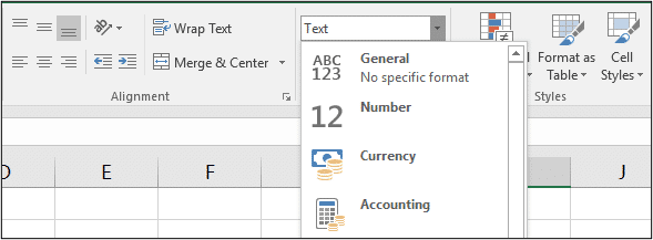 Change the format from Text to General