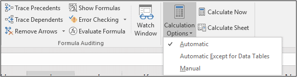 Set calculation to automatic if Excel formula not calculating