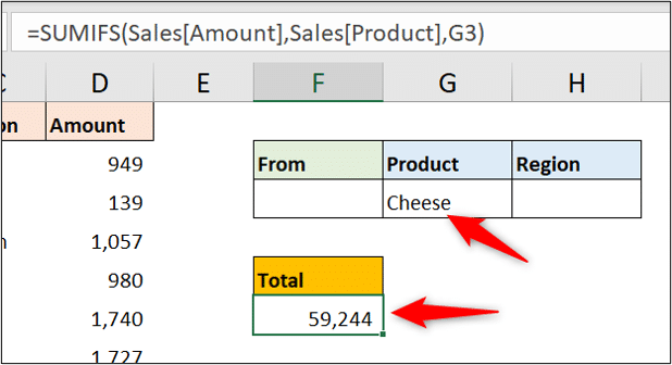 Cell Value for the SUMIFS function criteria