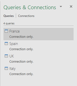 List of all queries as connection only