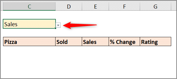 Drop down list to select the column header to sort by