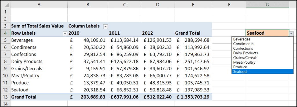 Make a dynamic GETPIVOTDATA function in Excel