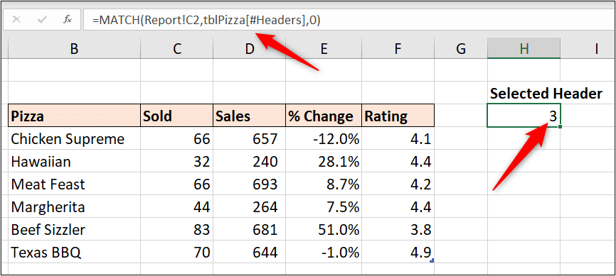 MATCH function to return the selected column