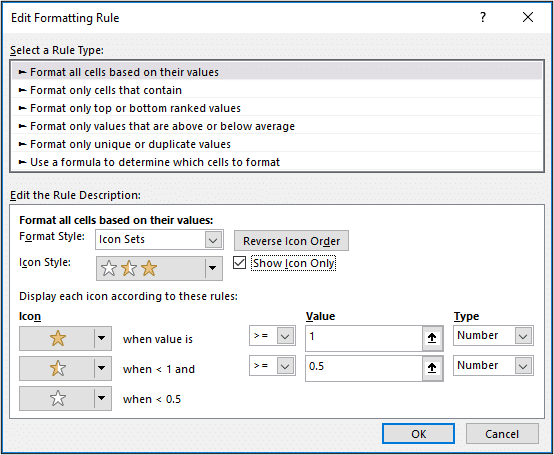 Icon Sets Conditional Formatting rule window settings applied